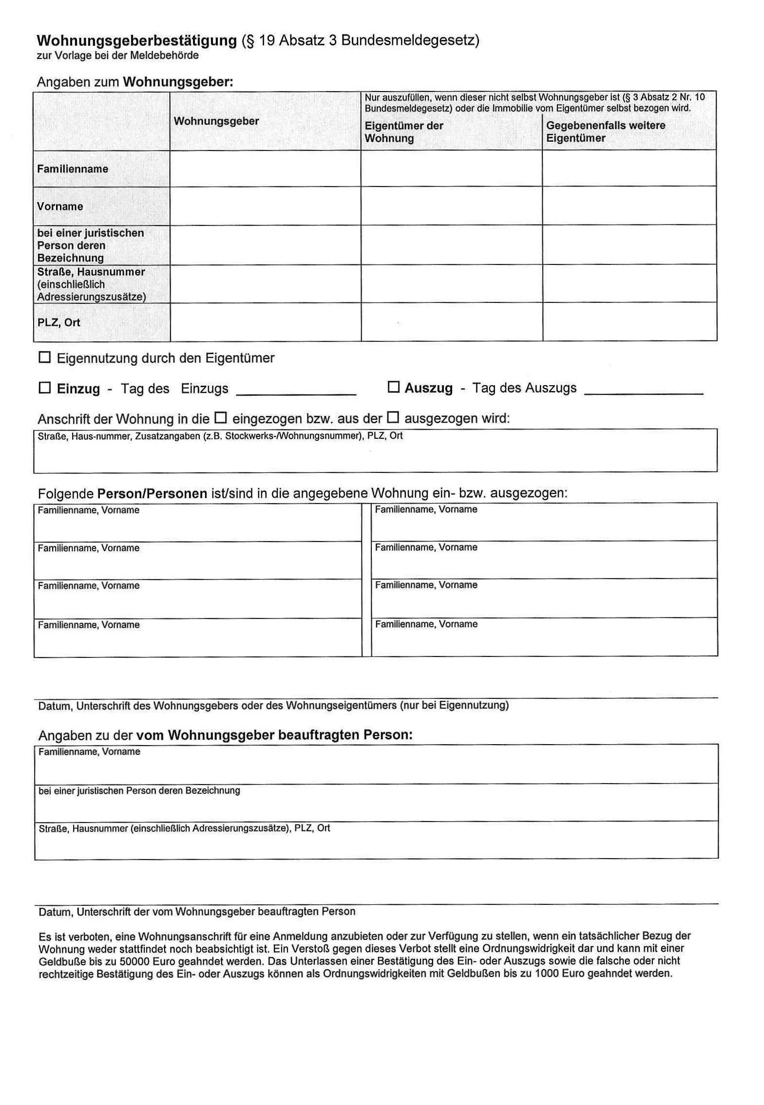 Wohnungsgeberbestatigung Vorlage 5